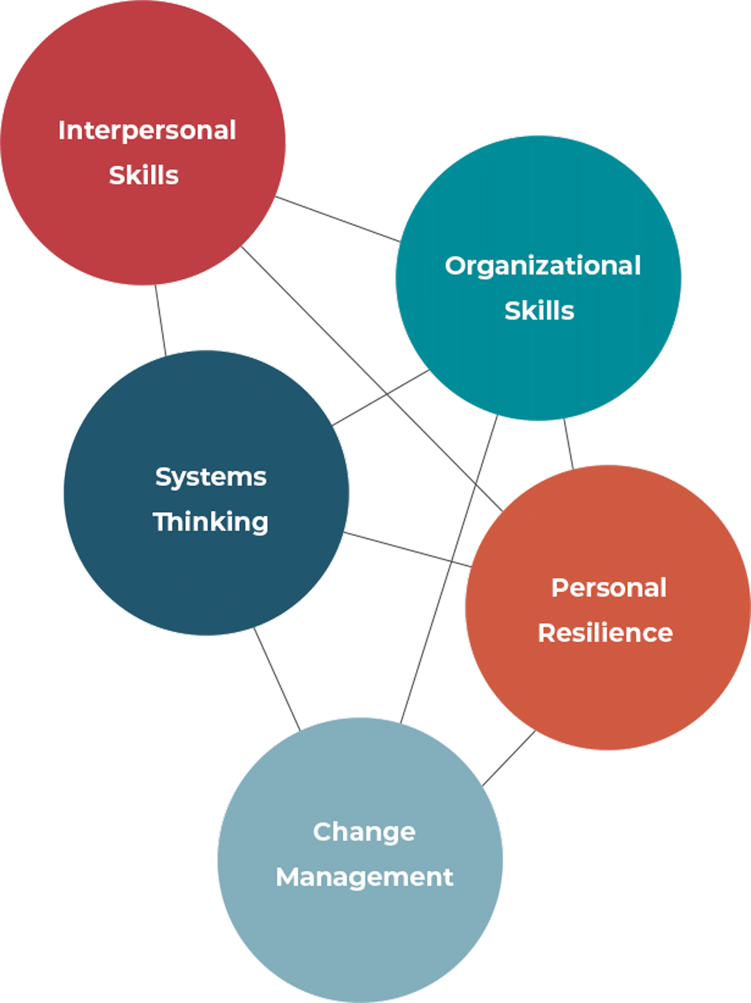 Interconnection between: Interpersonal Skills, Organizational Skills, Systems Thinking, Personal Resilience & Change Management